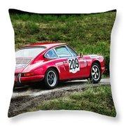Red Porsche Running Away Throw Pillow
