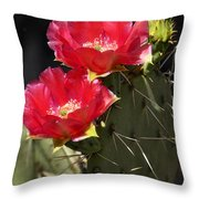 Red Prickly Pear Cactus  Throw Pillow