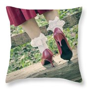 Red Pumps Throw Pillow by Joana Kruse