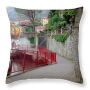 Red Rail Walkway To Varenna Along Lake Como Throw Pillow