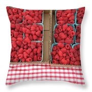 Red Raspberries Are Here Throw Pillow