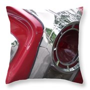 Red Retro Chrome Throw Pillow