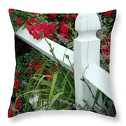 Red Rhododendron And White Post Throw Pillow