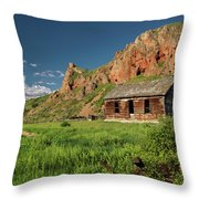 Red Rock Cabin Throw Pillow