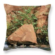 Red Rocks, Fall Colors And Creek, Oak Throw Pillow