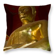 Red Roofed Hall With Ornaments And A Tall Golden Buddha Statue Throw Pillow