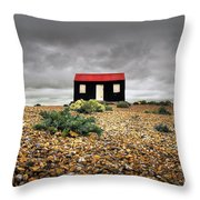 Red Roofed Hut Throw Pillow