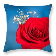 Red Rose And Baby Breath Throw Pillow