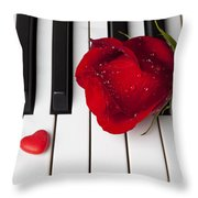 Red Rose And Candy Heart Throw Pillow