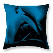 Red Rose Close Up 2011 In Blue Throw Pillow