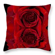 Red Rose Dew Throw Pillow