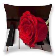 Red Rose On Piano Throw Pillow