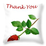 Red Rose Thank You Card Throw Pillow