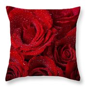 Red Roses And Water Drops Throw Pillow