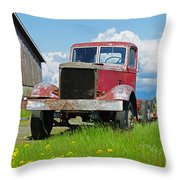 Red Rusted Semi Throw Pillow