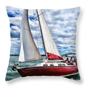 Red Sailboat Green Sea Blue Sky Throw Pillow