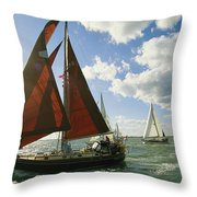Red-sailed Sailboat And Others Throw Pillow