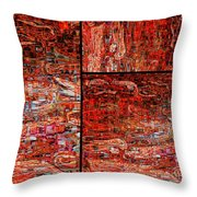 Red Splashes Swishes And Swirls - Abstract Art Throw Pillow