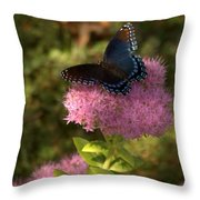 Red Spotted Purple Butterfly On Sedum Throw Pillow