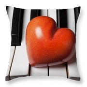 Red Stone Heart On Piano Keys Throw Pillow