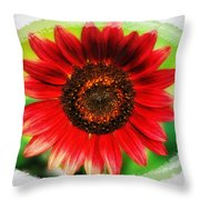 Red Sun Flower Throw Pillow