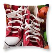 Red Tennis Shoes And Balls Throw Pillow
