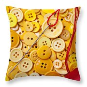 Red Thread And Yellow Buttons Throw Pillow