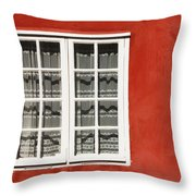 Red Timber House And Window Frame In Throw Pillow