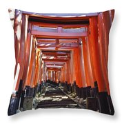 Red Torii Arches Over Steps At Inari Throw Pillow