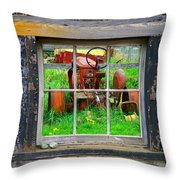 Red Tractor Thru Old Window Throw Pillow