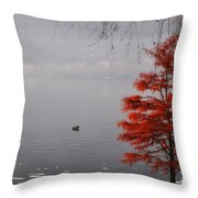 Red Tree On The Lake Front Throw Pillow