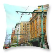 Red Trolley Green Trolley Throw Pillow