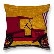 Red Truck Against Yellow Wall Throw Pillow