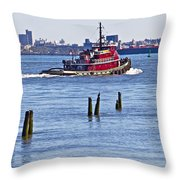 Red Tug One Throw Pillow