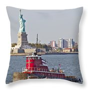 Red Tug Three And Liberty Throw Pillow