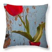 Red Tulip Bending Throw Pillow