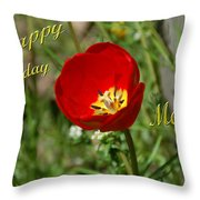 Red Tulip Birthday Throw Pillow