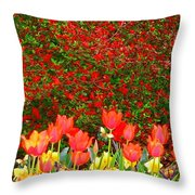 Red Tulip Flowers Throw Pillow