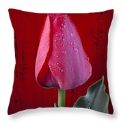 Red Tulip With Dew Throw Pillow