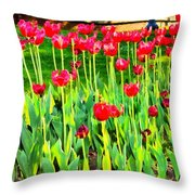 Red Tulips Throw Pillow