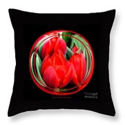 Red Tulips Under Glass Throw Pillow