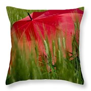 Red Umbrella On The Wheat Field Throw Pillow