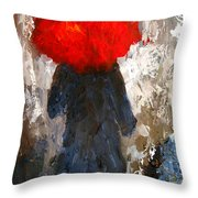 Red Umbrella Under The Rain Throw Pillow