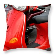 Red Vespa Vintage Scooter Motorcycle Throw Pillow