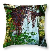 Red Vine Shed Throw Pillow