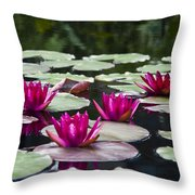Red Water Lillies Throw Pillow