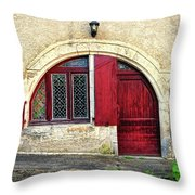 Red Windows And Door Provence France Throw Pillow