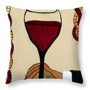 Red Wine Glass Throw Pillow
