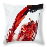 Red Wine Pour Throw Pillow