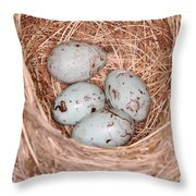 Red-winged Blackbird Nest Throw Pillow